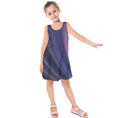 A Pruple Sweeping Fractal Pattern Kids  Sleeveless Dress by Simbadda