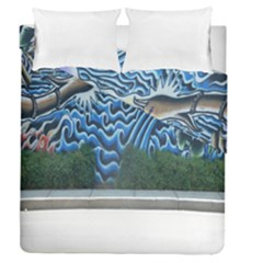 Mural Wall Located Street Georgia Usa Duvet Cover Double Side (queen Size) by Simbadda