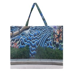 Mural Wall Located Street Georgia Usa Zipper Large Tote Bag by Simbadda