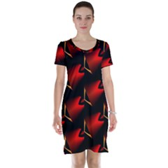 Fractal Background Red And Black Short Sleeve Nightdress