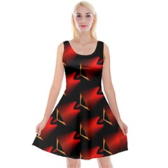 Fractal Background Red And Black Reversible Velvet Sleeveless Dress