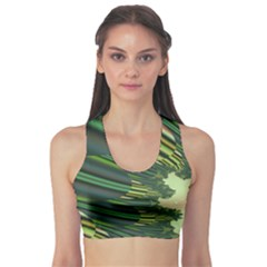 A Feathery Sort Of Green Image Shades Of Green And Cream Fractal Sports Bra by Simbadda