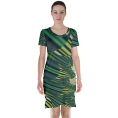 A Feathery Sort Of Green Image Shades Of Green And Cream Fractal Short Sleeve Nightdress