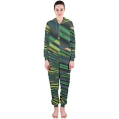 A Feathery Sort Of Green Image Shades Of Green And Cream Fractal Hooded Jumpsuit (ladies)