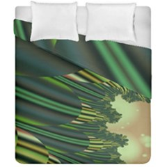 A Feathery Sort Of Green Image Shades Of Green And Cream Fractal Duvet Cover Double Side (california King Size)