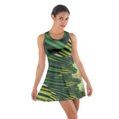 A Feathery Sort Of Green Image Shades Of Green And Cream Fractal Cotton Racerback Dress