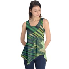 A Feathery Sort Of Green Image Shades Of Green And Cream Fractal Sleeveless Tunic
