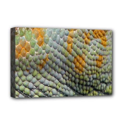 Macro Of Chameleon Skin Texture Background Deluxe Canvas 18  X 12   by Simbadda