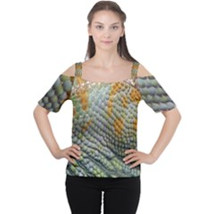 Macro Of Chameleon Skin Texture Background Women s Cutout Shoulder Tee by Simbadda