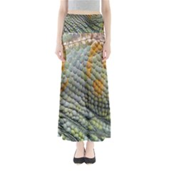 Macro Of Chameleon Skin Texture Background Maxi Skirts