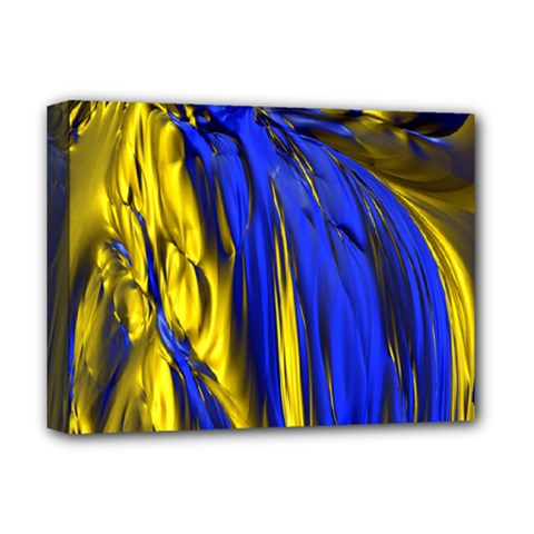 Blue And Gold Fractal Lava Deluxe Canvas 16  X 12
