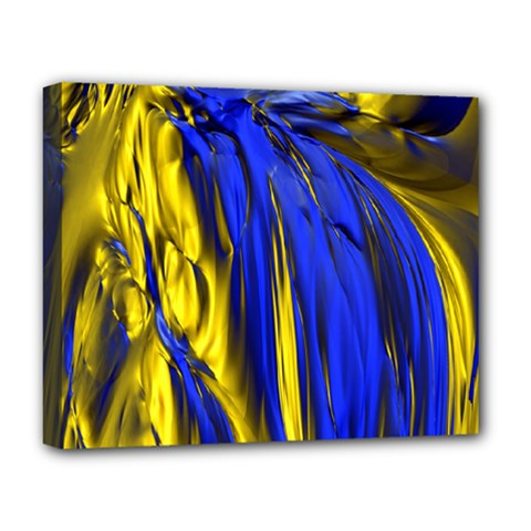 Blue And Gold Fractal Lava Deluxe Canvas 20  X 16   by Simbadda