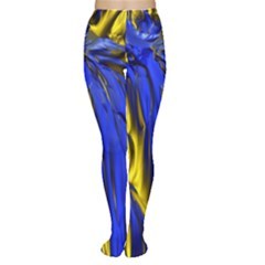 Blue And Gold Fractal Lava Women s Tights