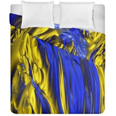 Blue And Gold Fractal Lava Duvet Cover Double Side (california King Size) by Simbadda
