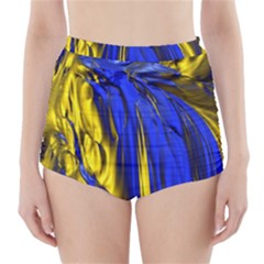 Blue And Gold Fractal Lava High Waisted Bikini Bottoms