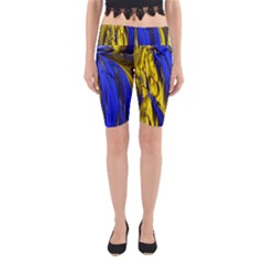 Blue And Gold Fractal Lava Yoga Cropped Leggings