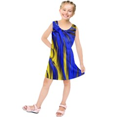 Blue And Gold Fractal Lava Kids  Tunic Dress