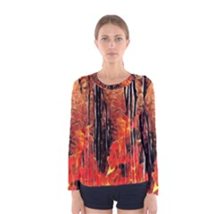 Forest Fire Fractal Background Women s Long Sleeve Tee by Simbadda