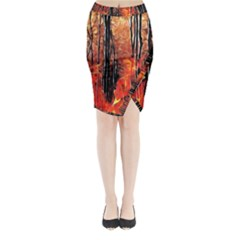 Forest Fire Fractal Background Midi Wrap Pencil Skirt