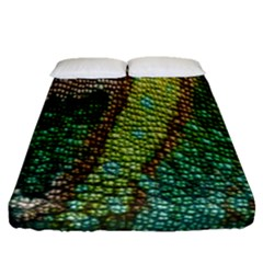 Colorful Chameleon Skin Texture Fitted Sheet (queen Size) by Simbadda