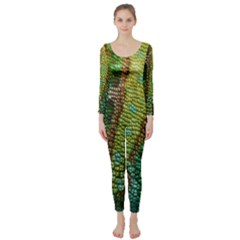 Colorful Chameleon Skin Texture Long Sleeve Catsuit