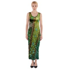 Colorful Chameleon Skin Texture Fitted Maxi Dress by Simbadda
