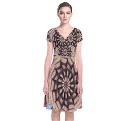Manipulated Reality Of A Building Picture Short Sleeve Front Wrap Dress by Simbadda