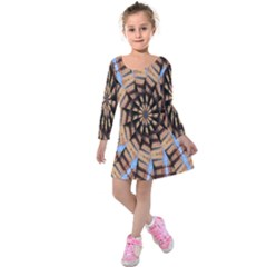 Manipulated Reality Of A Building Picture Kids  Long Sleeve Velvet Dress