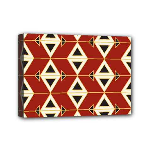 Triangle Arrow Plaid Red Mini Canvas 7  X 5