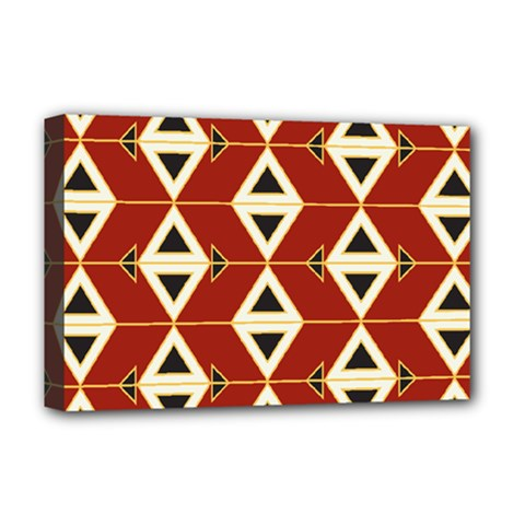 Triangle Arrow Plaid Red Deluxe Canvas 18  X 12