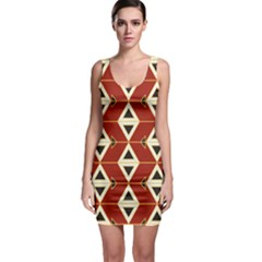 Triangle Arrow Plaid Red Sleeveless Bodycon Dress by Alisyart