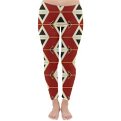 Triangle Arrow Plaid Red Classic Winter Leggings