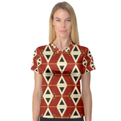 Triangle Arrow Plaid Red Women s V Neck Sport Mesh Tee by Alisyart