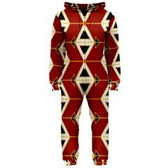 Triangle Arrow Plaid Red Hooded Jumpsuit (ladies)  by Alisyart