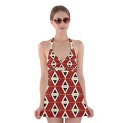 Triangle Arrow Plaid Red Halter Swimsuit Dress by Alisyart