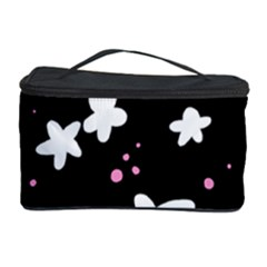 Square Pattern Black Big Flower Floral Pink White Star Cosmetic Storage Case by Alisyart