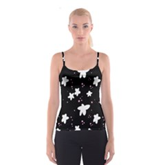 Square Pattern Black Big Flower Floral Pink White Star Spaghetti Strap Top by Alisyart