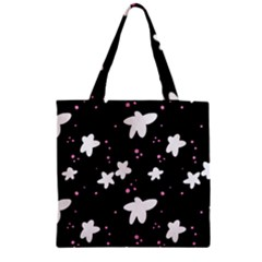 Square Pattern Black Big Flower Floral Pink White Star Zipper Grocery Tote Bag by Alisyart