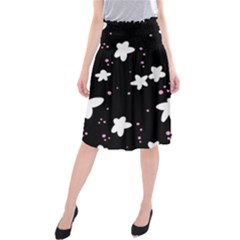 Square Pattern Black Big Flower Floral Pink White Star Midi Beach Skirt by Alisyart