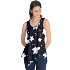 Square Pattern Black Big Flower Floral Pink White Star Sleeveless Tunic by Alisyart