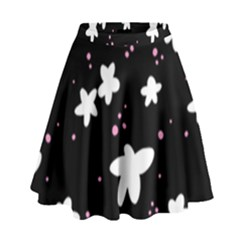 Square Pattern Black Big Flower Floral Pink White Star High Waist Skirt by Alisyart