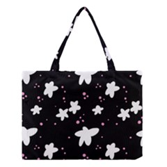 Square Pattern Black Big Flower Floral Pink White Star Medium Tote Bag by Alisyart
