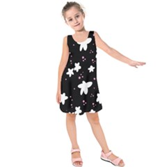 Square Pattern Black Big Flower Floral Pink White Star Kids  Sleeveless Dress by Alisyart