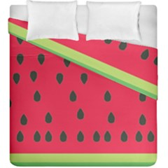 Watermelon Fan Red Green Fruit Duvet Cover Double Side (king Size) by Alisyart
