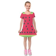 Watermelon Fan Red Green Fruit Kids  Short Sleeve Velvet Dress by Alisyart
