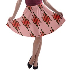 Variant Red Line A-line Skater Skirt by Alisyart