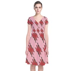 Variant Red Line Short Sleeve Front Wrap Dress