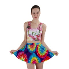 Tie Dye Circle Round Color Rainbow Red Purple Yellow Blue Pink Orange Mini Skirt