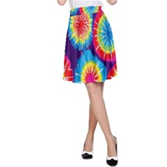 Tie Dye Circle Round Color Rainbow Red Purple Yellow Blue Pink Orange A Line Skirt by Alisyart