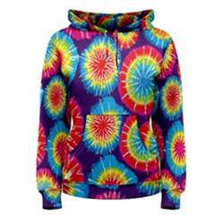 Tie Dye Circle Round Color Rainbow Red Purple Yellow Blue Pink Orange Women s Pullover Hoodie